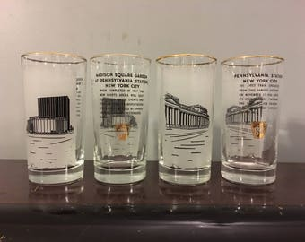 Madison Square Garden Penn Station Rare Vintage Mid-Century 1960s Pennsylvania Railroad Promotional Highball Cocktail Glasses New York City