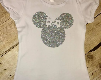Silver Sparkles Minnie Mouse with Silhouette inspired shirt with glitter vinyl