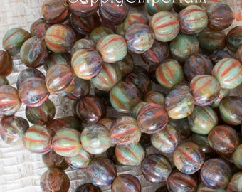 6mm Green Turquoise Amber Picasso Melon Round, 25 Beads, Czech Glass Turquoise Amber Picasso 6mm Melon Beads, 1466
