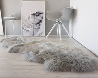 Genuine Double Natural Sheepskin Rug - Extremely soft wool - Dyed Grey | Silver | Ash | Tan Mix  - DN 32