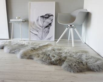 Genuine Double Natural Sheepskin Rug - Extremely soft wool - Dyed Grey | Silver | Ash | Tan Mix  - DN 34