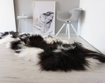Genuine Rare Breed Icelandic - Double Natural Sheepskin Rug Blacky Brown | Creamy White Mix - DI 19