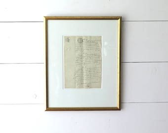 Antique Framed French Document, 1800s, Paper Ephemera, Farmer's Transcript, Calligraphy, Hand Written, French Country