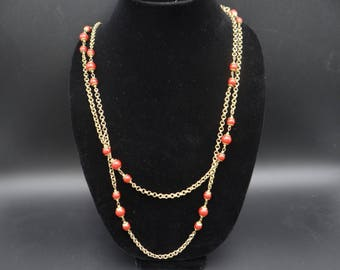 """1950s Vintage Signed Miriam Haskell Crimson Bead and chain 63"""" Long Necklace with Original Tag - Beautiful"""