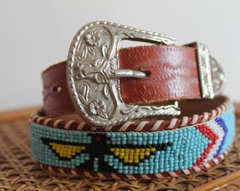 70's Native American Beaded Handtooled Leather Belt