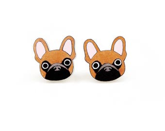 Tan Brown French Bulldog Earrings, French Bulldog Jewelry, French Bulldog Jewellery, Dog Earrings, Dog Jewelry, Shrink Plastic