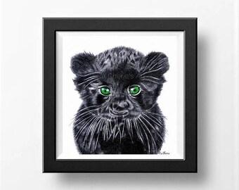Baby Panther Print, Cute Baby Animal Art Print,  Nursery Art, Baby Animal Drawing, Baby Panther Art Print, Baby Animal Print, Prints