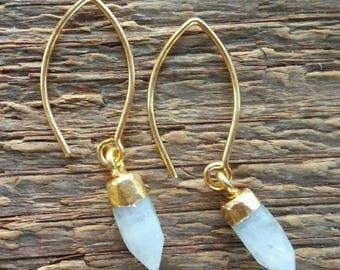 Rainbow Moonstone Earrings, Gold Moonstone Earrings, Moonstone Point Earrings, Gold Earrings, Boho Earrings, Bohemian Jewelry
