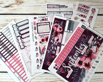 """September Monthly 2017 CALENDAR PAGES Kit, """"Your Own Beautiful"""" September Monthly planner stickers kit fits EC Life 2016-17 & 2017-18"""