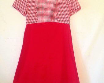 vintage 1970s dress red vintage dress small vintage dress handmade red and white dress checked red dress 70s 1970s seventies dress