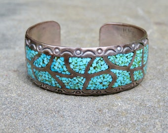 Turquoise and Silver Chip Inlay Cuff, Native American Turquoise Jewelry, Vintage Navajo Turquoise Bracelet, Sterling and Turquoise Cuff