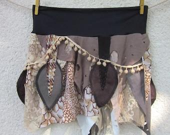 Animal print tribal festival skirt, jungle festival clothing, medium size