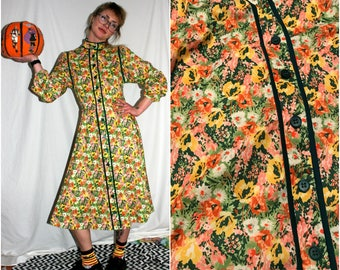 Vintage Psychedelic Floral Prairie Girl A Line Dress. Cute Hippie Boho Button Up Long Sleeve Yellow Pink Maxi Dress.