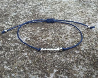 Perfectly Petite Single Strand Beaded Bracelet  Gold Silver or Bronze Beads You Choose Cord Color