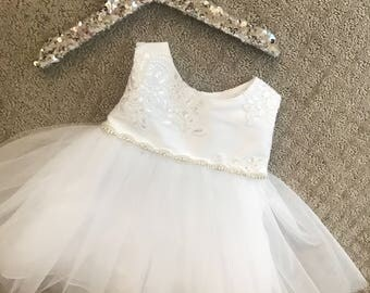 Lace Baby Christening Dress Baby Baptism gown White baby dress Lace FlowerGirl Dress toddler Christening dress gown Girls Birthday Dress
