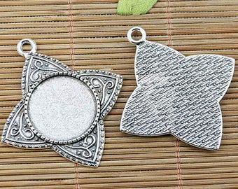 4pcs tibetan silver color round shaped 20mm cabochon settings EF2497