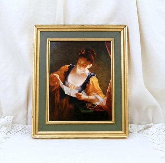 """Vintage Framed Les Editions Braun from Paris Reproduction / Copy of """"Young Woman Reading a Letter"""" by Jean Raoux Hangs in The Louvre Museum"""