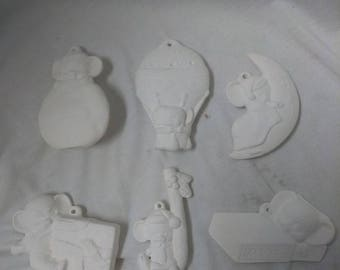 FREE SHIPPING Mice Ornaments Asst #5 set of 6 Ceramic Bisque, Ready To Paint