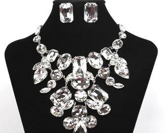 SALE SALE Bridal Statement Necklace, Chunky Crystal Bridal Necklace, Crystal Wedding Necklace, Crystal Evening Necklace ~ E 131