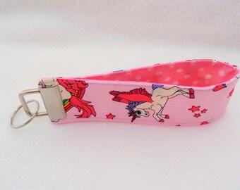 Pink Unicorn Design Wristlet Key Fob - Lanyard Keychain - Key Ring - Dog Lover Gift - Gift for Mum - Jogger Gift - Unicorns and Rainbows