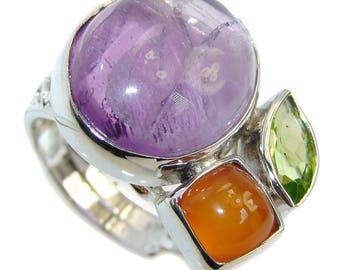 Amethyst, Carnelian, Peridot Sterling Silver Ring - weight 9.30g - Size 7 1 4 - adjustable - dim L - 3 4, W - 1, T - 3 8 inch - code 18-sie-