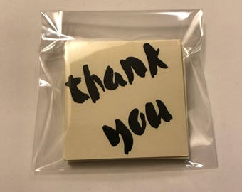 12 mini Thank You note cards. 2x2 mini card set. thank you cards. favor tags. gift tags. ready to ship. Purple Sakana