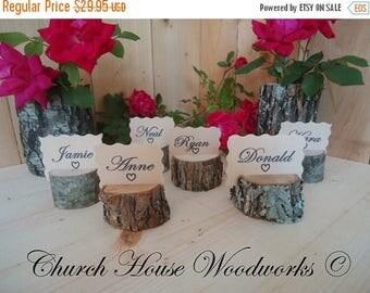 SALE 25 rustic place card holders, tree card holders, place holders, rustic wedding decor, wood place card holder, tree stump