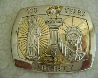 Vintage Statue of Liberty Belt Buckle Sterling Treasury