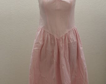 All That Jazz Vintage Pink and White Striped Sundress with Spaghetti Straps and Sweetheart Neckline