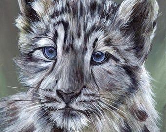 SALE Snow Leopard Cub Big Cat  Animal SFA  - Original hand painted acrylic wildlife painting by Australian Artist Janet M Graham