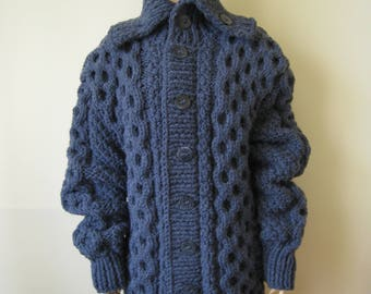 Made to Order ! Hand knitted Extra Thick Cardigan  Sweater Coat  Alpaca+Merino blend  S, M, L, XL