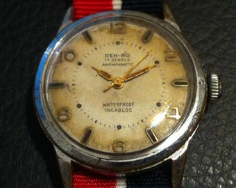 Den-Ro Swiss Watch, 17 Jewels, Mellow Patina Dial, Men's Vintage Watch, Sweep Second Hand, Free Shipping