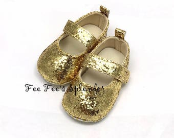 Baby Toddler shoes- GOLD girls soft walkers- Crib shoes- Glitter Gold- Mary Janes