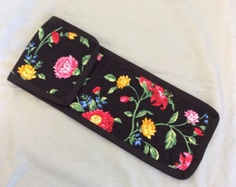 Flowers on Black Quilted Curling Iron Case