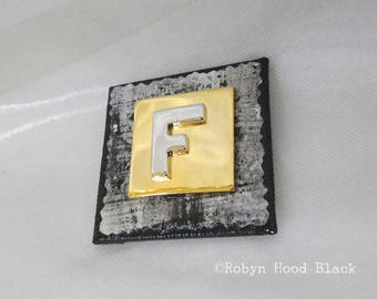Letter F Gold and Silver Vintage Metal Letter Magnet 2 X 2