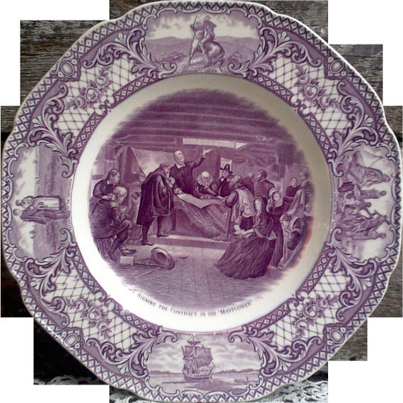 """PURPLE TRANSFERWARE PLATE, Crown Ducal,  """"Colonial Times"""", 10 1/2"""" Plate, """"Signing Contract in the Mayflower"""", Serving, Plum, Mulberry"""