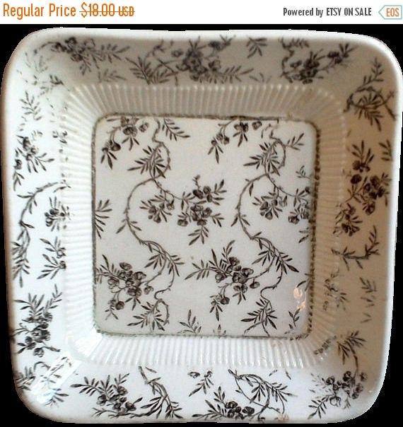 """50% off Antique Brown Transferware Square Butter Dish, Butter Pat, 4"""", Ridgway, Clarence, Brown Floral Ironstone Dish, Circa 1890's, Serving"""