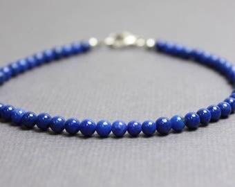 Lapis Bracelet, Lapis Lazuli Bracelet, Gemstone Bracelet, Lapis Jewelry, Blue Lapis Bracelet, Tiny Lapis Bracelet, 3mm Lapis Bracelet