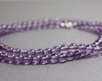 Amethyst Necklace, Amethyst Bead Necklace, Purple Necklace, Amethyst Jewelry, Long Amethyst Necklace, February Birthstone Necklace