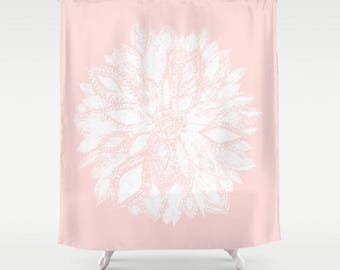 pale pink shower curtain. Pink White Flower Shower Curtain  pink shower curtain blush floral Etsy