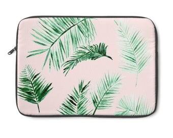 Pink Palm Leaf Laptop Sleeve, pink laptop sleeve, pink laptop case, palm leaf sleeve, leaf laptop sleeve, palm leaf case