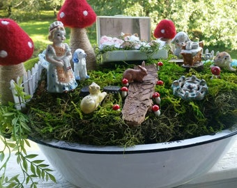Complete Fairy Garden Kit with Container, Vintage and  Handmade Items, Unique. Tasteful and Adorable, FREE shipping
