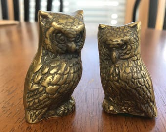 Vintage Cute Little Pair Couple Brass Owls Figurines Made in Korea