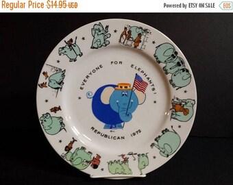 Republican Plate, 1972 Republican, Everyone For Elephants plate, GOP Nixon - Agnew, political plate, political memorabilia