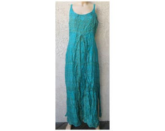 Vintage 1980's/1990's green ethnic silk sleeveless maxi dress sz M boho hippie Coachella grunge