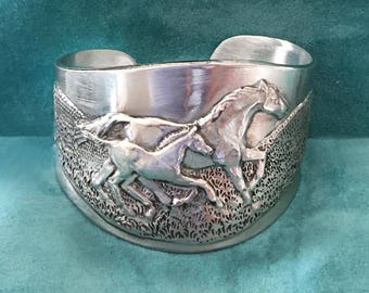 Horse Mare & Foal cuff bracelet