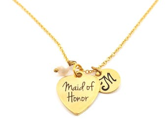 Maid of Honor Charm - Swarovski Birthstone - Custom Initial - Personalized Gold Necklace / Gift for Her