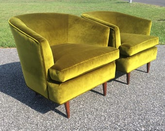 Pair Hollywood Regency Designer Chairs Vintage Mid Century Modern 1960's