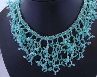 Miyuki seed beads turquoise coral necklace