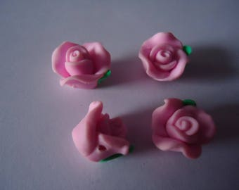 Set of 4 flowers Fimo rose